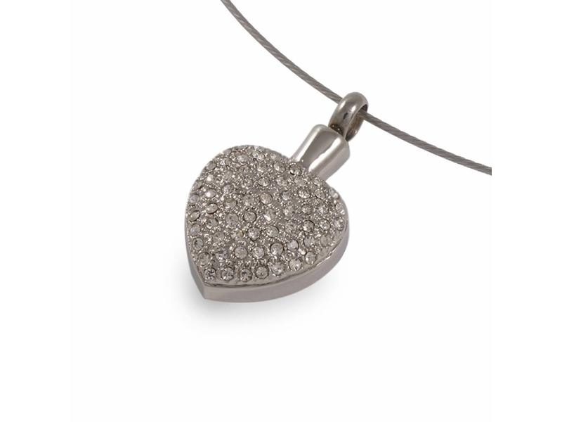 Ashanger kristal hart - RVS