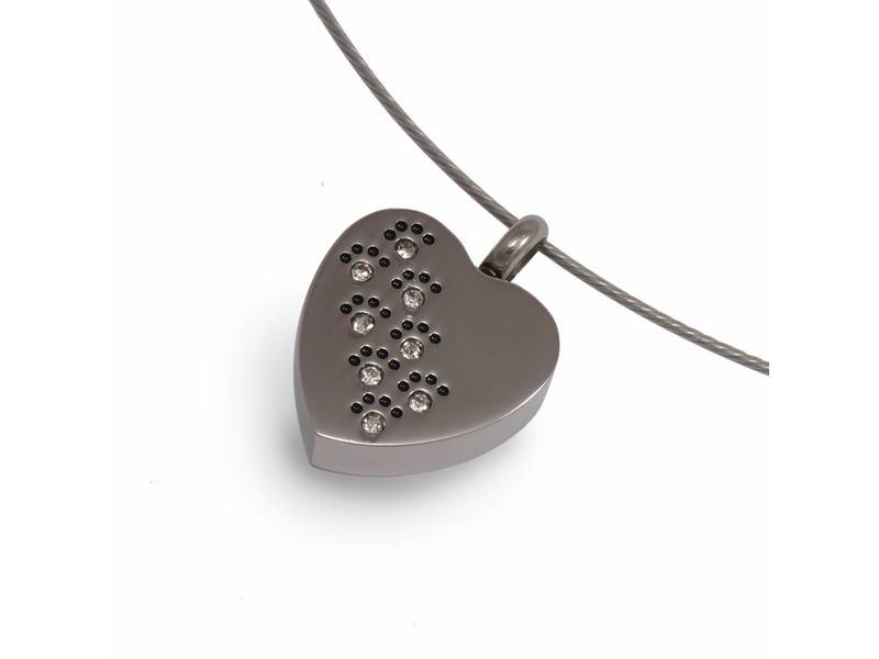 Ashanger hart met kristal pootjes - RVS