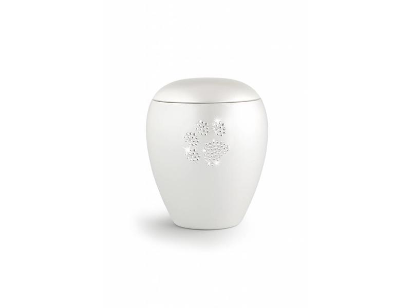 Dierenurn wit paarlemoer met swarovski pootafdruk middel - keramiek