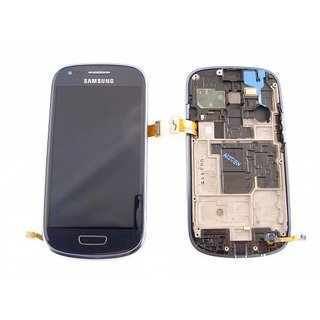 Samsung Galaxy S3 Mini i8190 Lcd Display + Touchscreen + Frame Blauw GH97-14204B