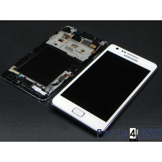 Samsung Galaxy S II Plus I9105 Lcd + Touchpanel Glas, Buitenvenster Raampje + Frame Wit GH97-14301B