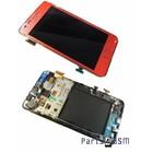 Samsung Galaxy S II i9100 Intern Beeldscherm + Touchpanel Glas, Buitenvenster Raampje + Frame Roze GH97-13080A4/4