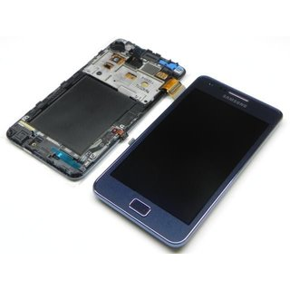 Samsung Galaxy S II Plus I9105P LCD Display + Touchscreen + Frame Blue GH97-14301A