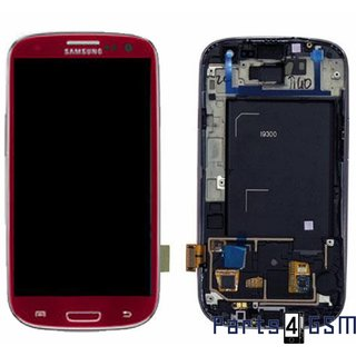 Samsung Galaxy S3 / S III i9300 LCD Display + Touchscreen + Frame Red GH97-13630C