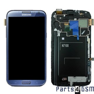 Samsung Galaxy Note II N7100 LCD Display + Touchscreen + Frame Blue GH97-14112E