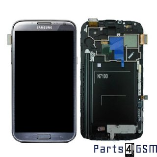 Samsung Galaxy Note II N7100 LCD Display + Touchscreen + Frame Grey GH97-14112B