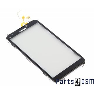 Nokia E7 Digitizer Touch Panel Outer Glass + Frame Black 4870041