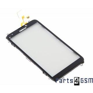 Nokia E7 Touchpanel Glas, Buitenvenster Raampje + Frame Zwart 4870041