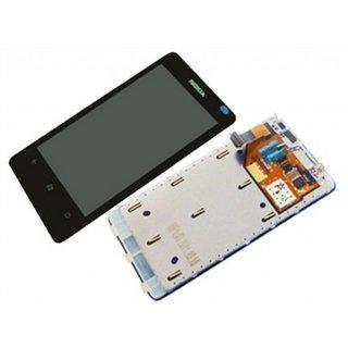 Nokia Lumia 800 Intern Beeldscherm + Touchpanel Glas, Buitenvenster Raampje + Frame Zwart 8002365