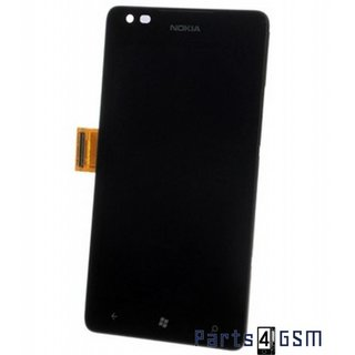 Nokia Lumia 900 Lcd Display + Touchscreen + Frame Zwart 00802B2