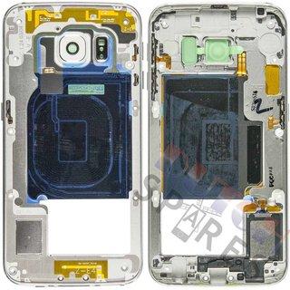 Samsung G925F Galaxy S6 Edge Mittel Gehäuse, Weiß, GH96-08376B