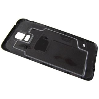 Samsung G901F Galaxy S5+ Battery Cover, Black, GH98-34385B, Incl. 4G+ logo