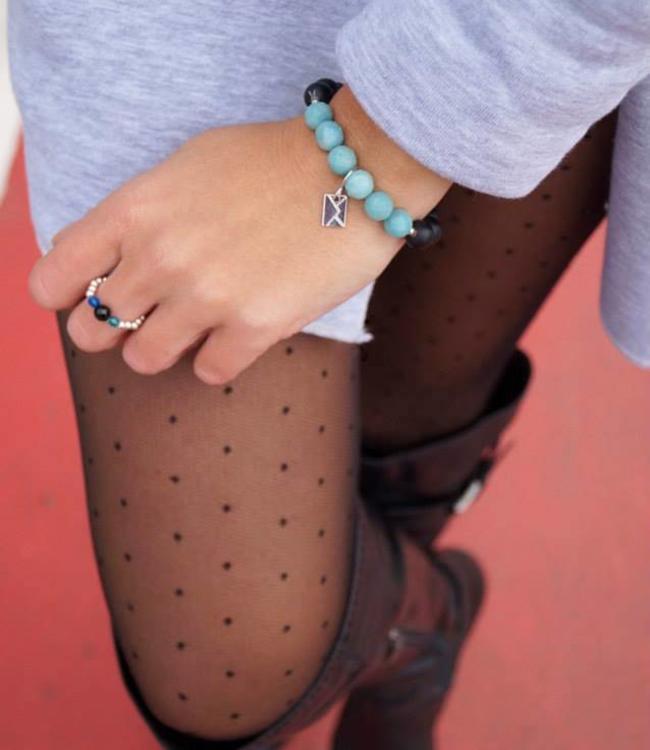 FIORE Dezire zwarte tulle panty met stippen