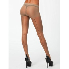 Pretty Polly Nylons Backseam 10 naadpanty Huidkleur / Zwarte naad