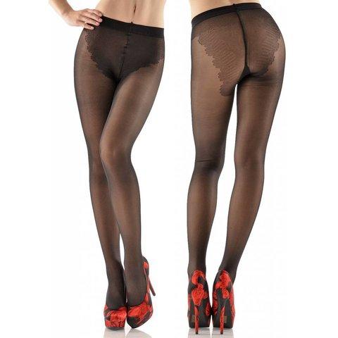 Lena 40 denier panty met bikini broekje Zwart