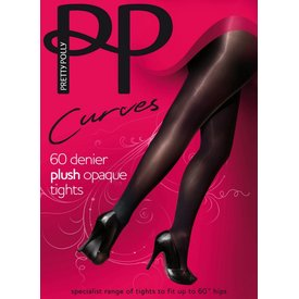 Pretty Polly Plush Curves 60 panty grote maat Zwart