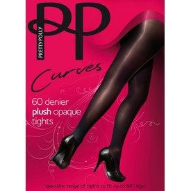 Pretty Polly Plush Curves 60 panty grote maat Zwart