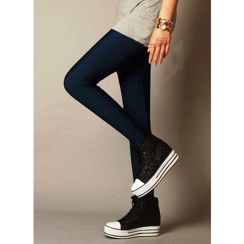 Leatherlook legging Donkerblauw