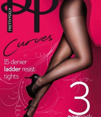 Pretty Polly Ladder Resist Curves 15 grote maat panty | 3 PAAR