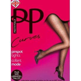 Pretty Polly Pin Dots 20 grote maat stippenpanty Zwart