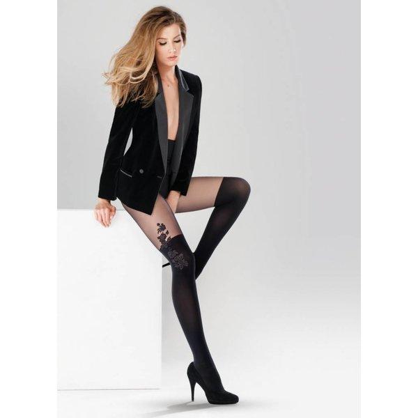 Gabriella Aurora 20/60 panty met overknee motief Zwart