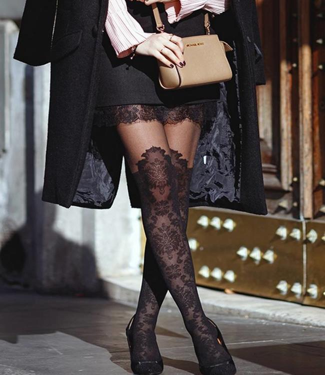 Fiore Taya 20 panty met overknee motief Zwart