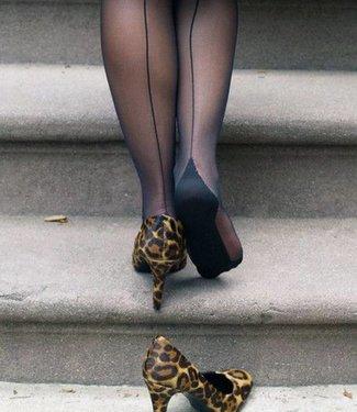 Pretty Polly Nylons Backseam 10 naadpanty Zwart / Zwarte naad