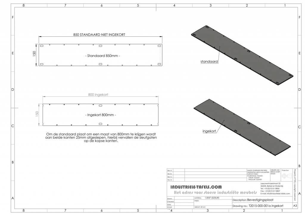 Bekend Industriele tafelpoten model U - Industriele tafels AP83