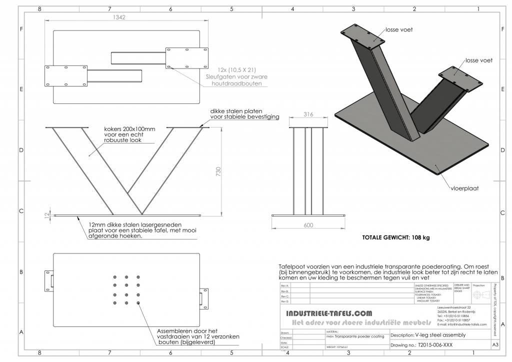 Beroemd Industrieel tafelonderstel V poot - Industriele tafels #CP08