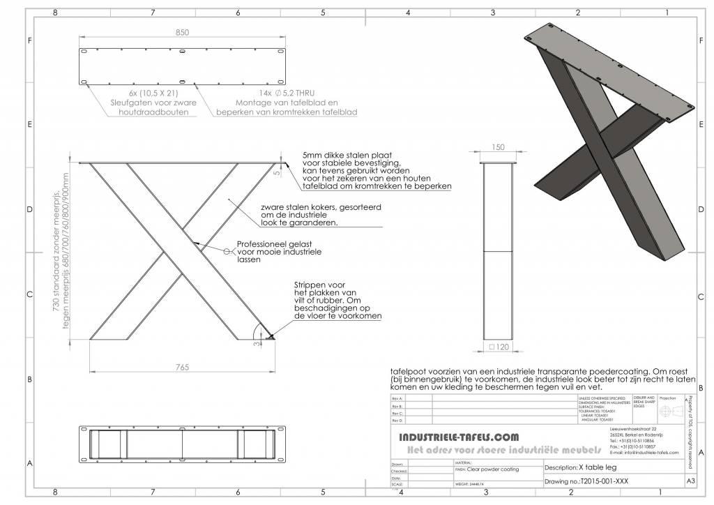 Vaak Handgemaakte industriele tafelpoten, model X Kruispoot  ET89