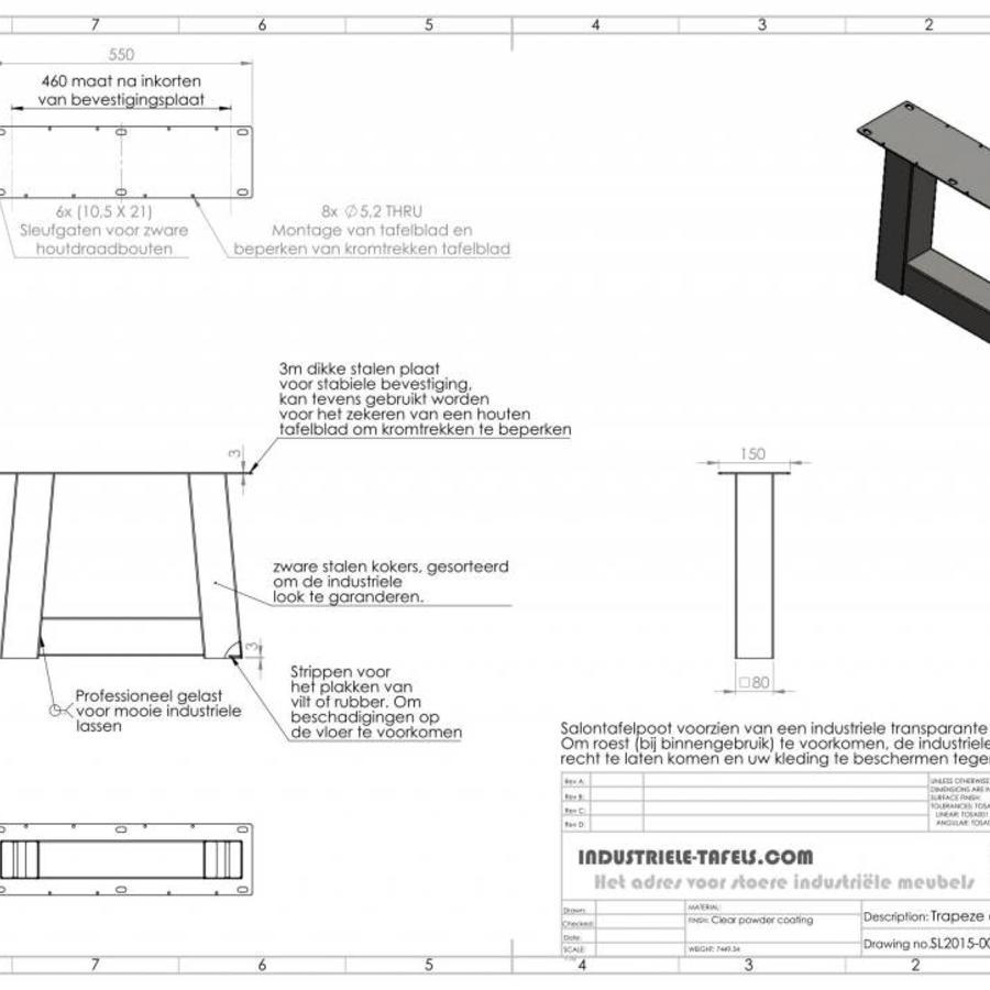 Handgemaakte Industriele Salontafel poten Model Trapezium Standaard