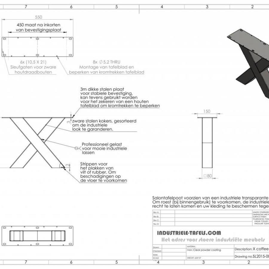 Handgemaakte industriele Salontafel poten model X standaard