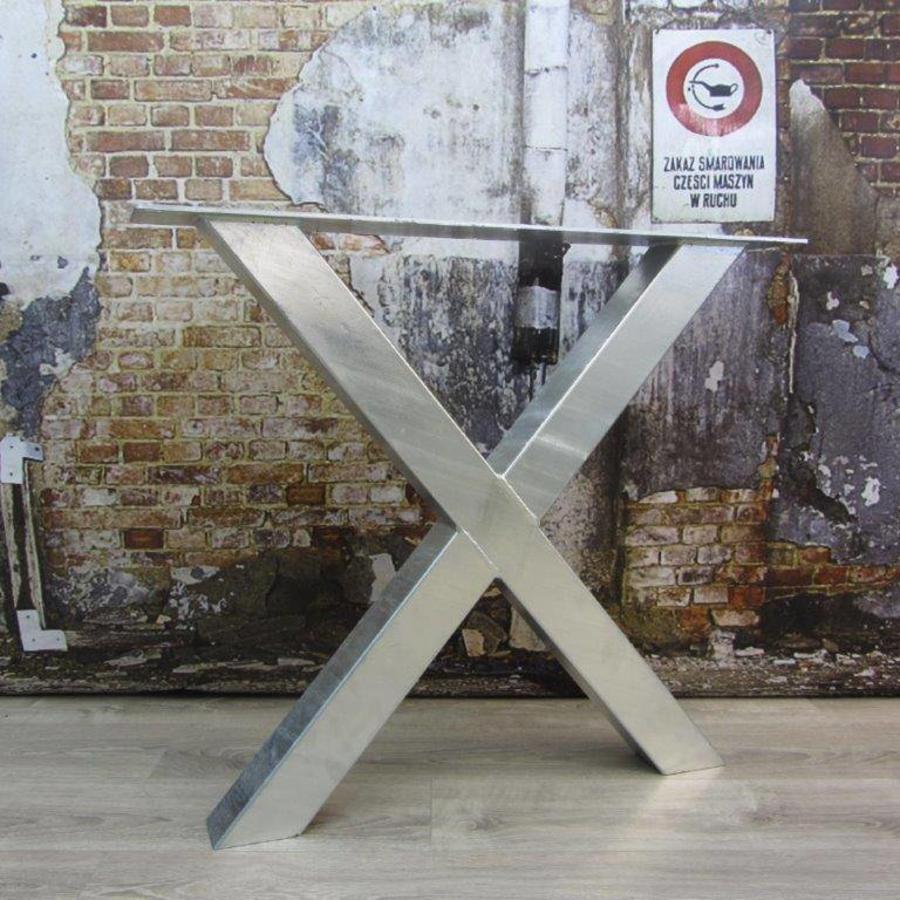 Handgemaakt Industrieel tafelonderstel X tafelpoot / kruispoot Standaard - VERZINKT