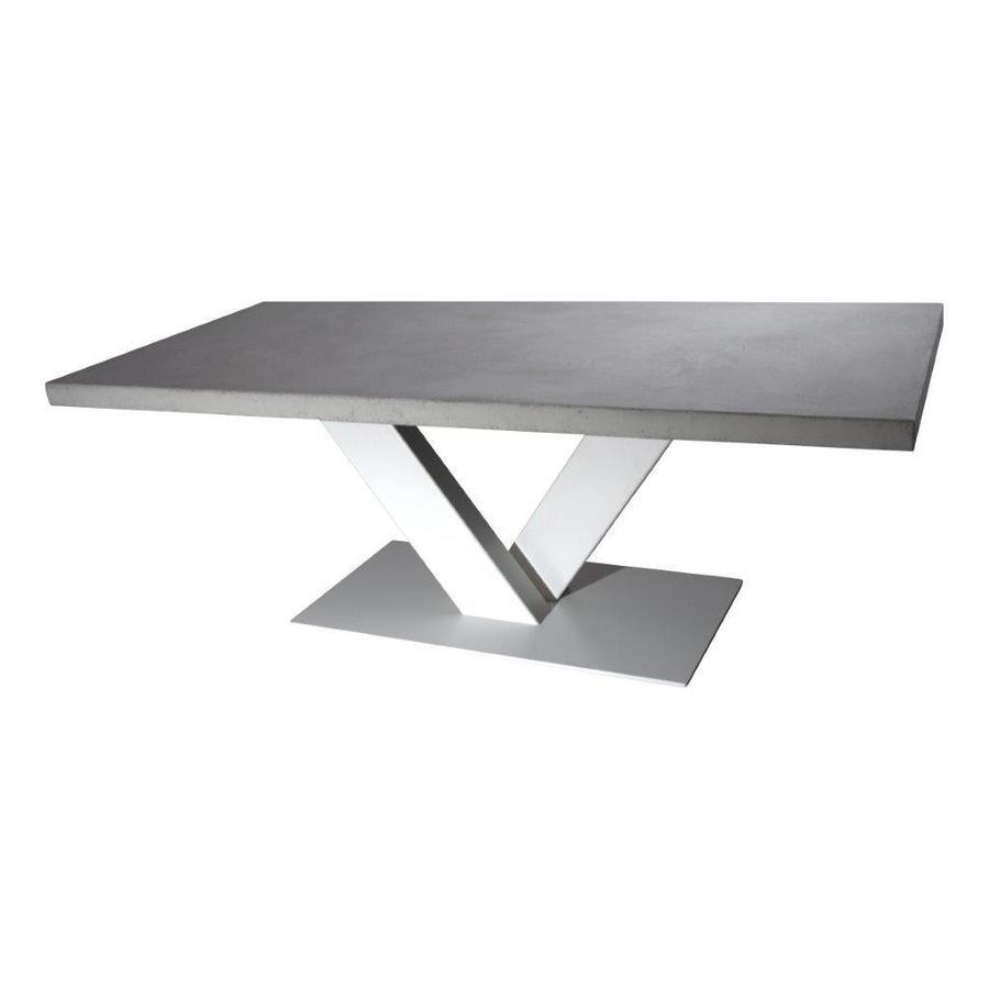 Betonnen tafel met witte V poot