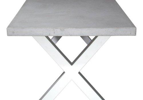 Betonnen tafel met standaard witte kruispoten