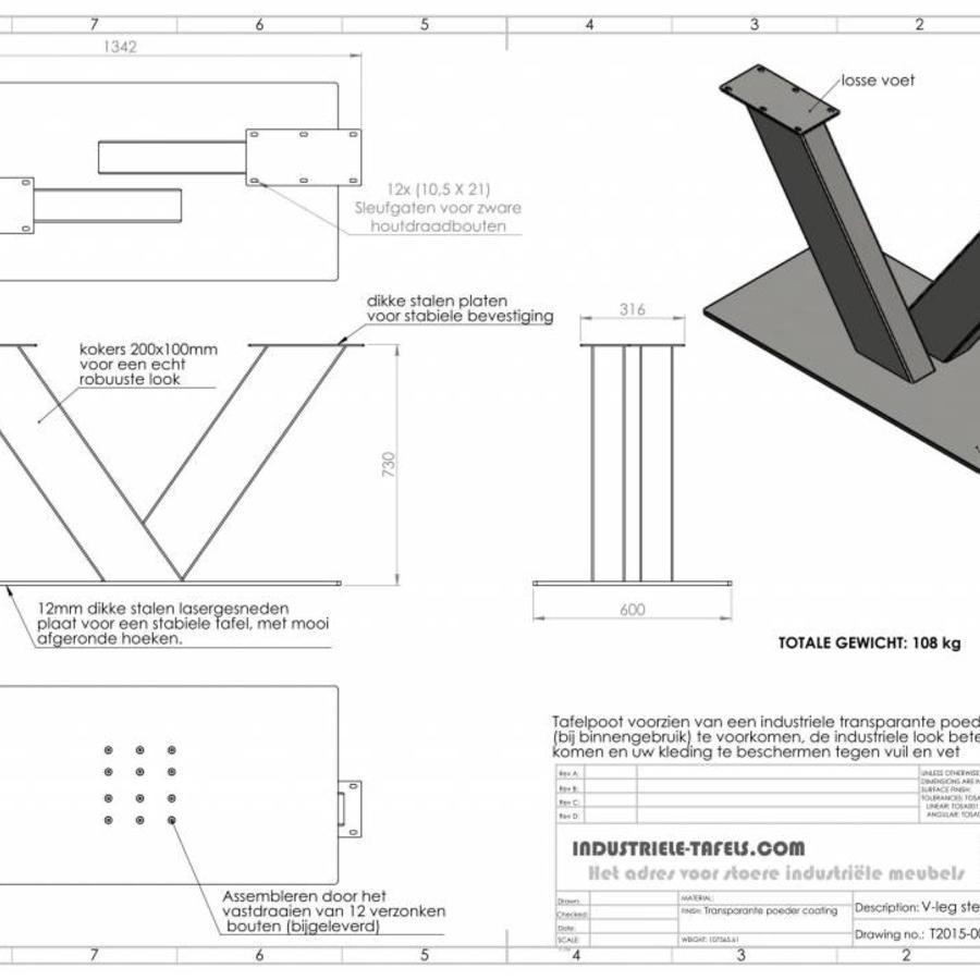 handgemaakt Industrieel tafelonderstel V poot Zwaar - VERZINKT