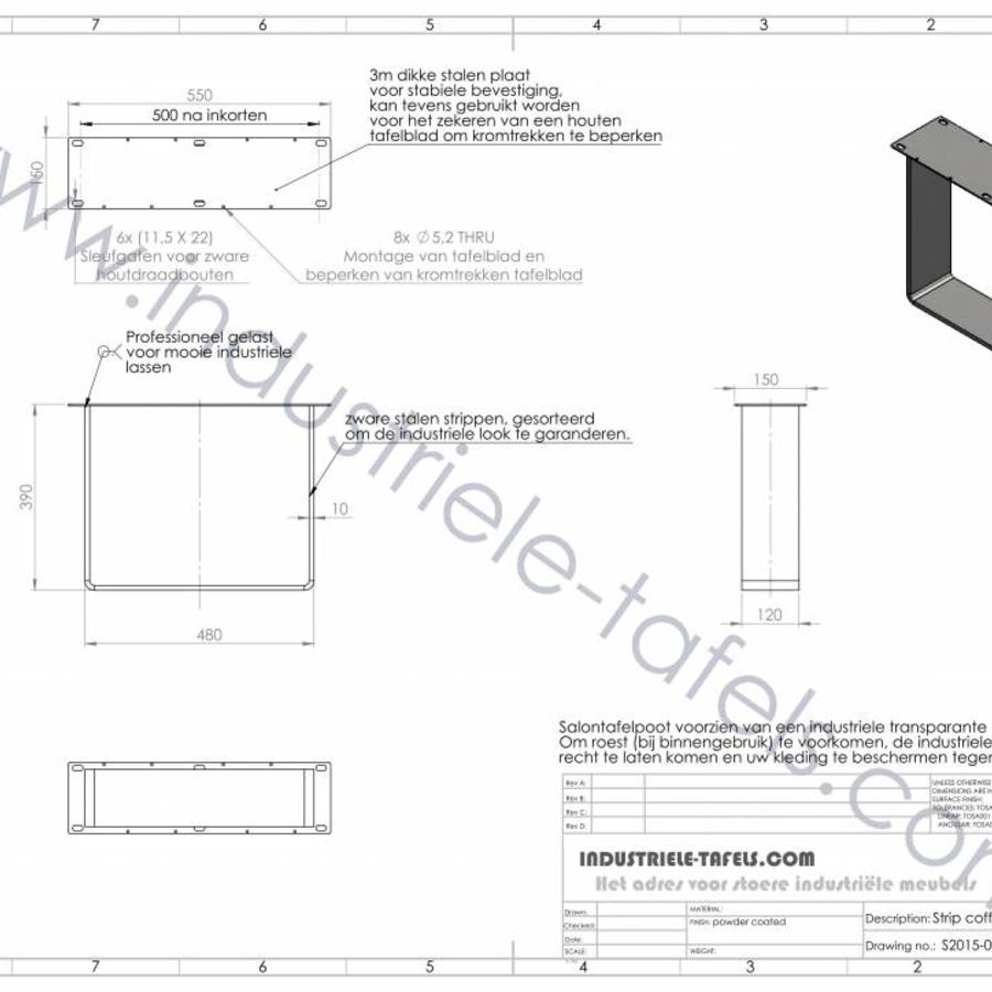 Handgemaakt industrieel salontafel onderstel Strip poot Zwaar WIT
