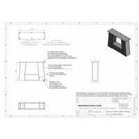 Handgemaakte Industriele Salontafel poten Model Trapezium Zwaar zwart