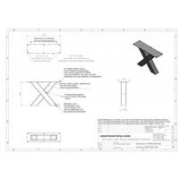 Handgemaakte industriele Salontafel poten model X standaard zwart