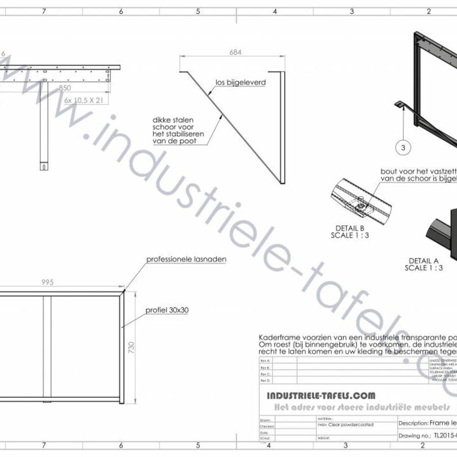 Tafelonderstel Frame 3x3 tafelpoot wit