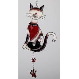 Tiffany Fensterdeko Dekoanhänger Katze 38 cm, Herz nach links
