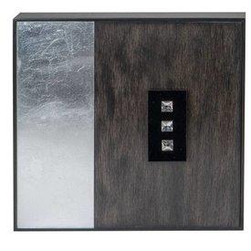 Wandbild aus Holz Diamant silber, 30x30 cm