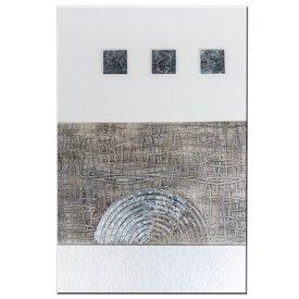 Modernes Wandbild aus Holz mit Glaselementen und drei Würfeln, 40x60 cm