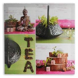 Buddha und Tee Leinwanddruck 50x50,  Grün,