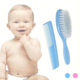 Baby-Haarbürste mit Kamm,  Blau,