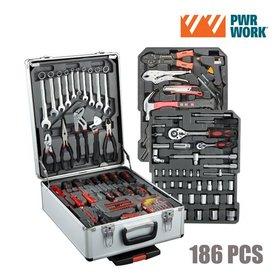PWR Work Werkzeugkasten mit Rädern (186 Werkzeuge)