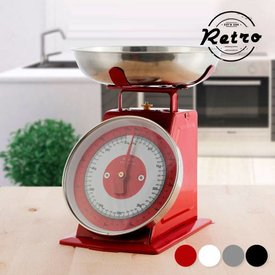 Analoge Küchenwaage mit Teller, Rot,