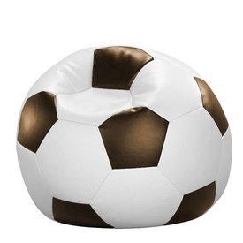 Licardo Fußball-Sitzball Kunstleder in weißxbraun, Ø 80 cm