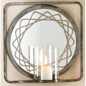 Wandleuchter mit Spiegel Ornament grau metallic gebürstet, 29x29 cm