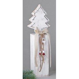 Wunderschöner Dekoständer aus Holz mit Tannenbaum, 36 cm